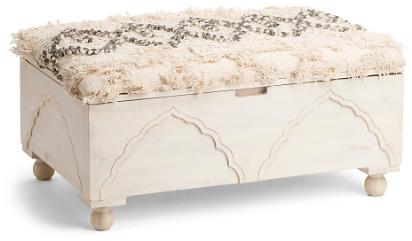 Carved Upholstered Storage Ottoman - Accent Furniture - T.J.Maxx
