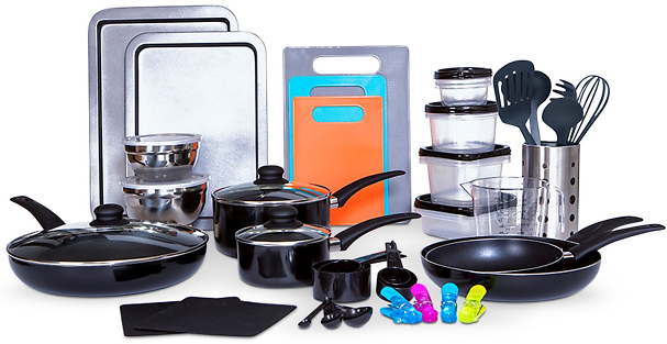 64-Pc Sedona Cookware & Food Storage Set + F/S