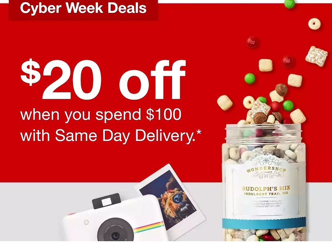 $20 Off When You Spend $100 with Same Day Delivery.