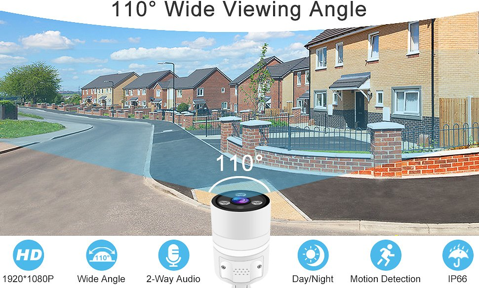 1080P Outdoor Security Camera - GENBOLT Wireless WiFi Home Surveillance IP Camera,Customizable Motion Detection,110° Super Wide
