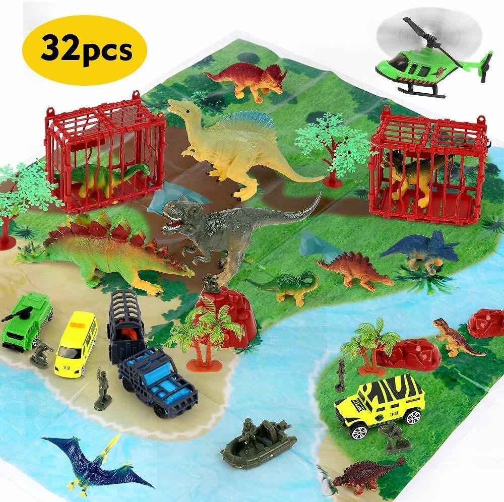 Beebeerun 32 Pieces Dinosaur Explorer Island Toy -Dinosaur World Discovery Expedition-Realistic Figures for Pretend Play Assembled Playset Best Toys Gifts for 3 4 5 6 7 Years Old Kids Boys Girls