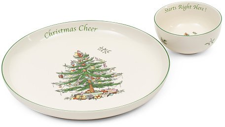2pc Christmas Tree Chip And Dip Serving Platter