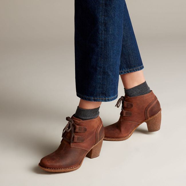 Carleta Lyon Brown Oiled Nubuck - Women's Booties & Ankle Boots - Clarks® Shoes Official Site | Clarks