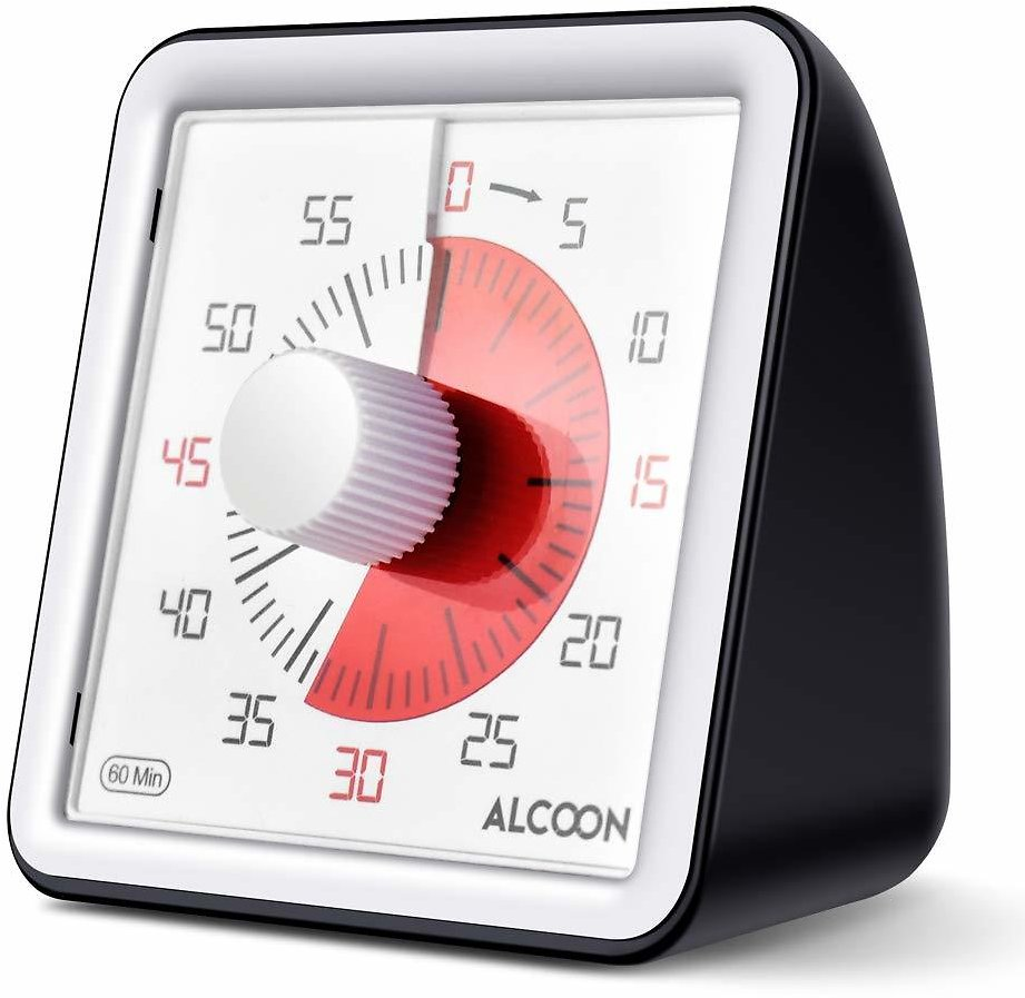 Alcoon 60 Minute Visual Analog Timer 3 Inch Silent Countdown Timer Kitchen Timer Time Management Tool for Classroom or Meeting Countdown Clock for Kids and Adults (Black)