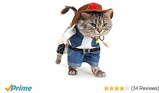 Meihejia Cat Cowboy Costume Hat Funny Halloween Costume for Cats & Small Dogs