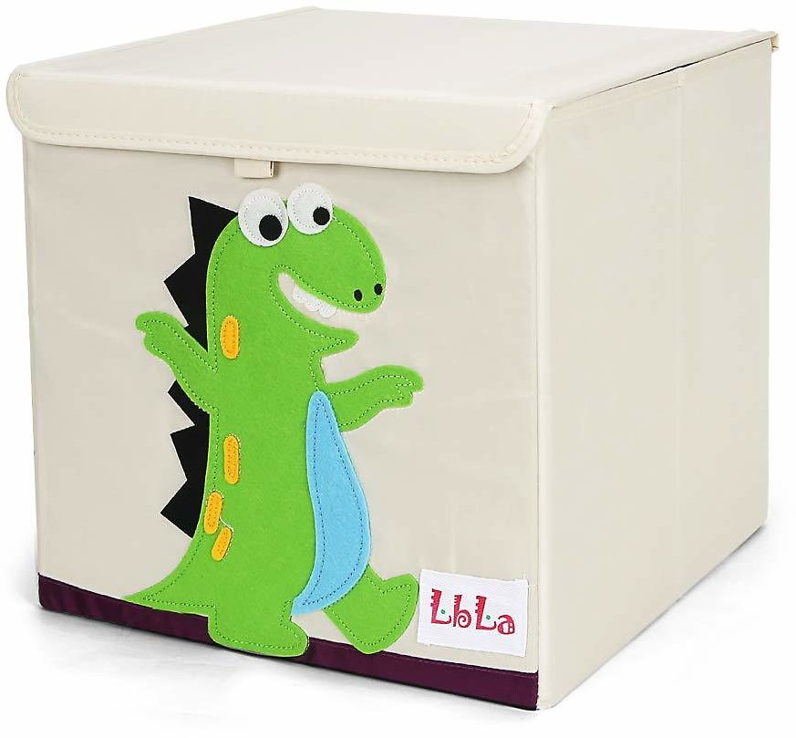 LBLA Cube Storage Box, Foldable Organizer Container for Kids & Toddlers, Dinosaur (Green)