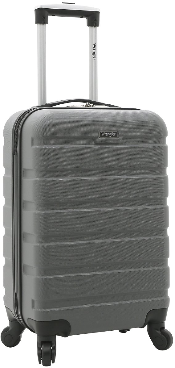 "Wrangler 20"" Carry-On Rolling Hardside Spinner Luggage Grey"
