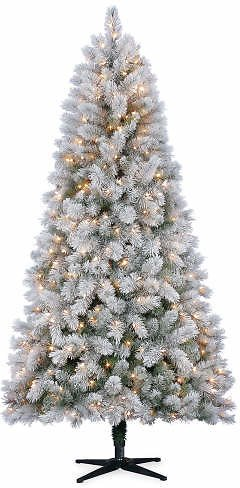 7' Flocked Pre-Lit Christmas Tree with Clear Lights - Big Lots