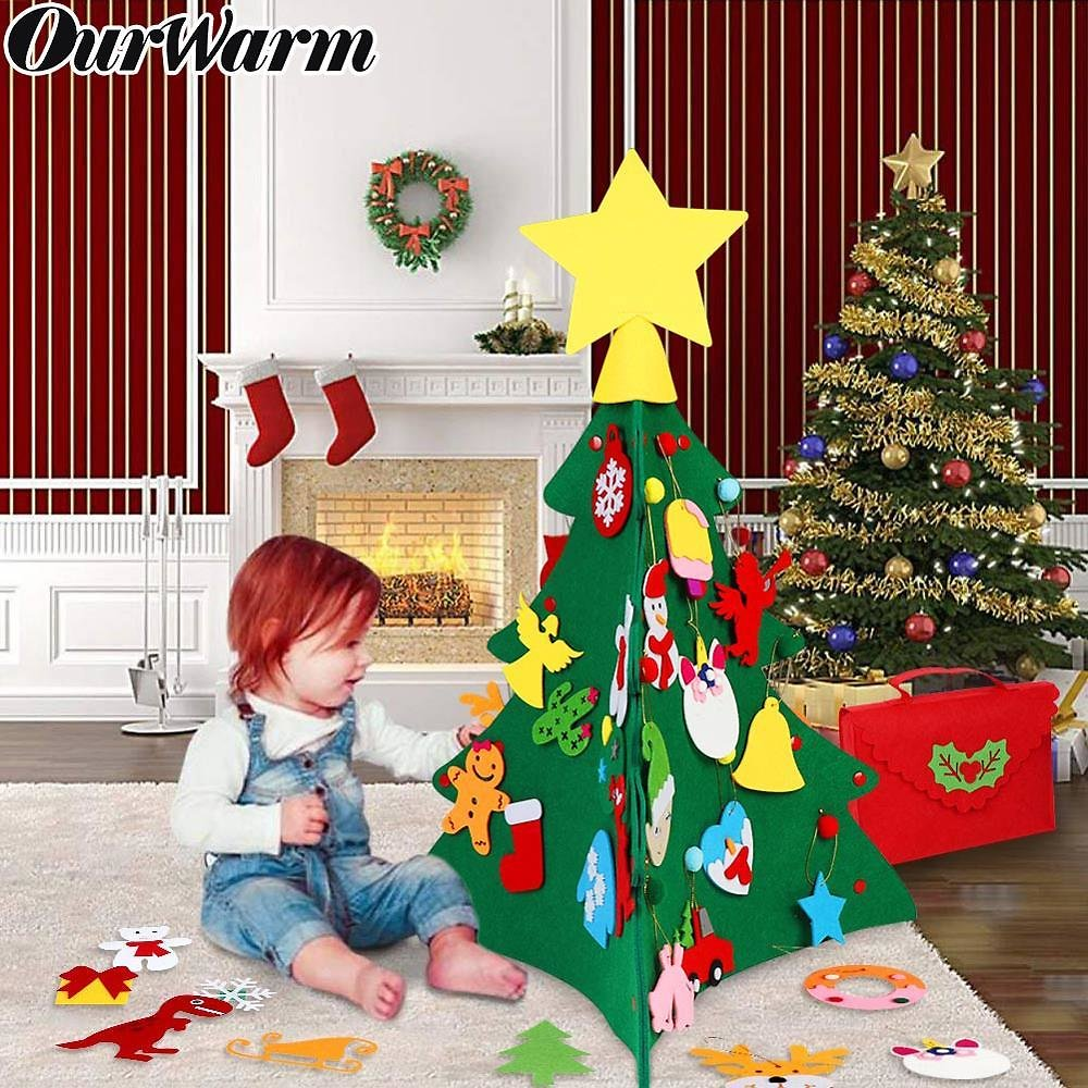 35% OFF| Our Warm 3D DIY Felt Christmas Tree with Ornaments Kids New Year Toys
