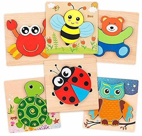 Beebeerun Wooden Jigsaw Puzzle Set, Wooden Color Shapes Puzzles for Toddlers 1 2 3 Years Old, Boys & Girls Educational Toys Gift with 6 Animals Puzzles