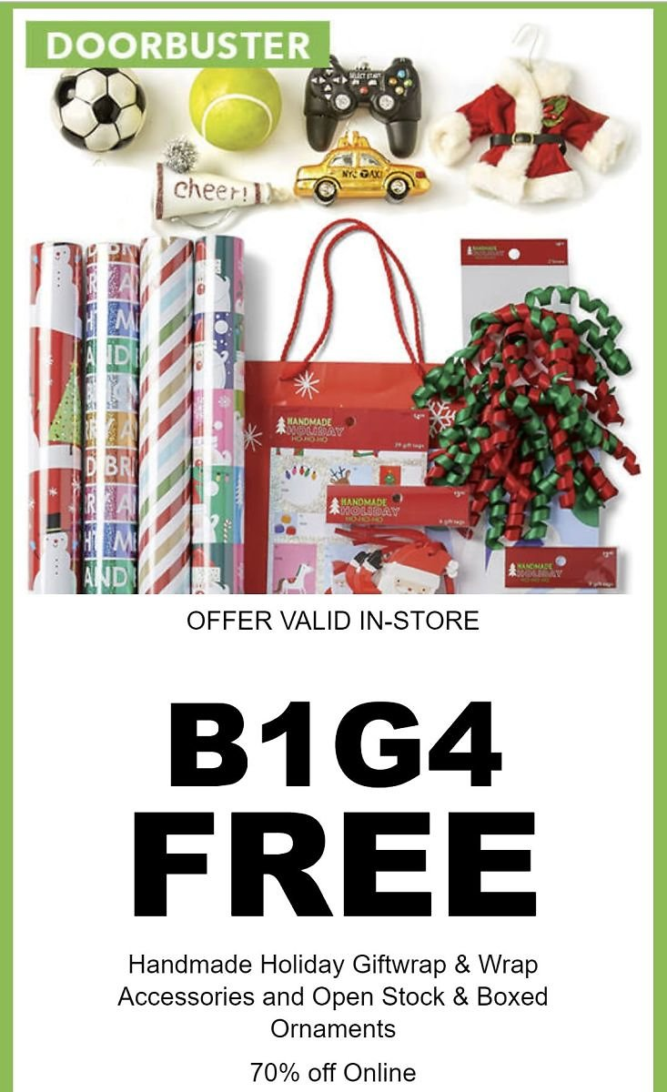 B1G4 Free Handmade Holiday Wrap, Accessories, and Ornaments - Joann Doorbuster
