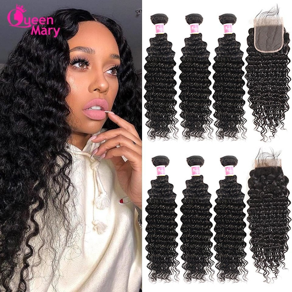 Deep Wave Bundles With Closure Non Remy Human Hair 3 and 4 Bundles With Lace Closure Queen Mary Human Hair Extensions