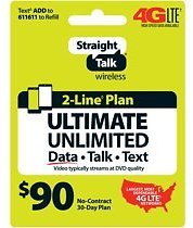 Straight Talk $90 ULTIMATE UNLIMITED 2-line 30-Day Plan (Email Delivery)