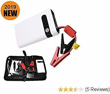Car Jump Starter Portable Car Battery Jump Starter Phone Charger and Auto Battery Booster 12000mAh Power Bank 12V with Smart Charging Port (White)