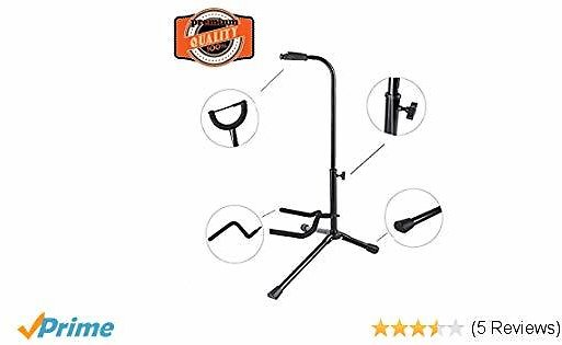EastRock Guitar Stand for Electric Guitar Bass,Professional Collapsible Portable and Adjustable Folding,Adult Friends Gift, Black