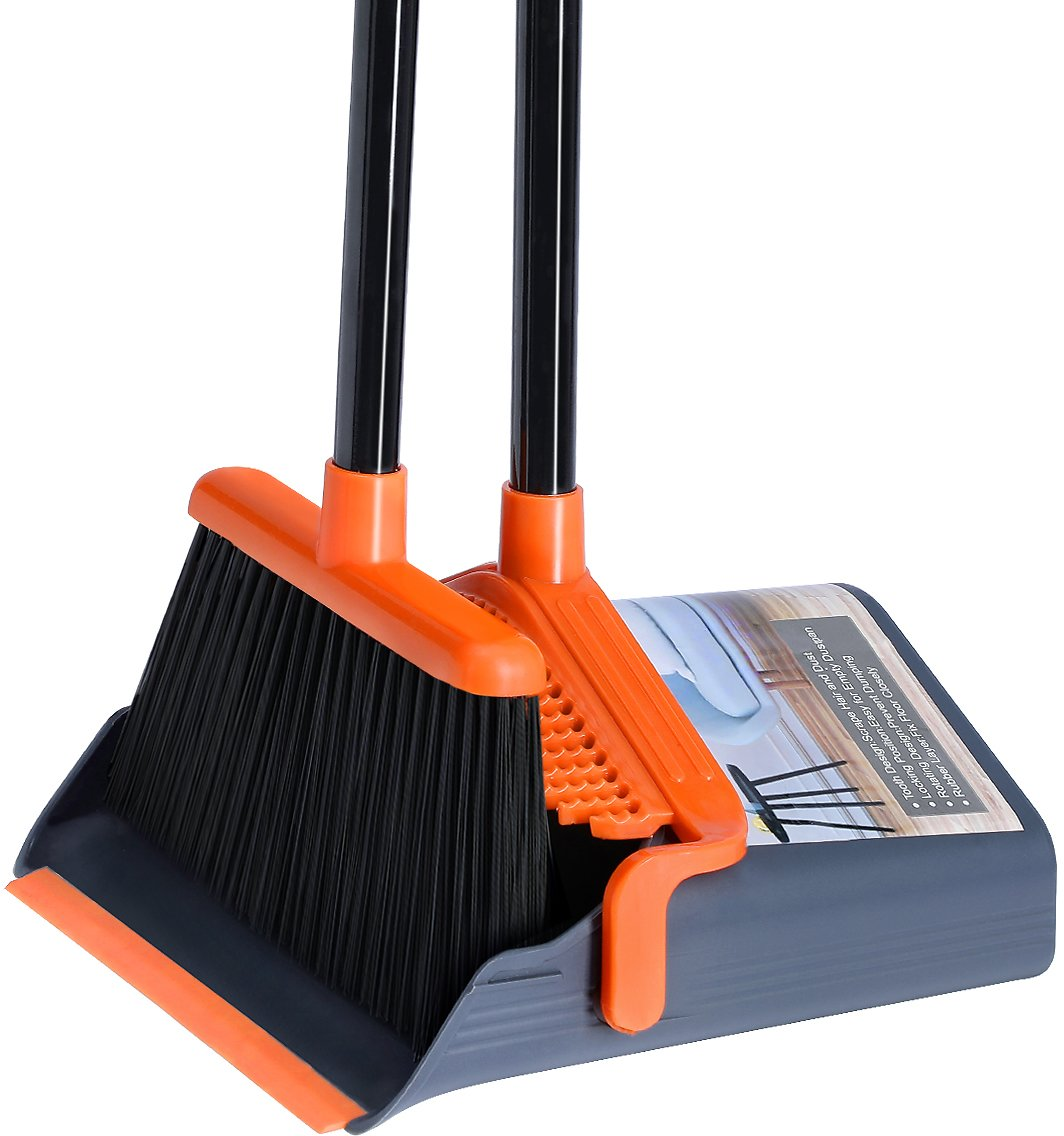 LEAVINSKY Broom and Dustpan Set, Broom Dustpan with Extendable Long Handle, Comb Teeth and Rubber Lip Design, Upright Broom and Dustpan Set for Home Kitchen Room Office Lobby Floor Use