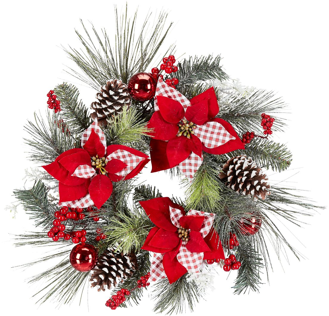 Holiday Time Red and White Poinsettia, Pine Cone, and Berry Wreath, 22