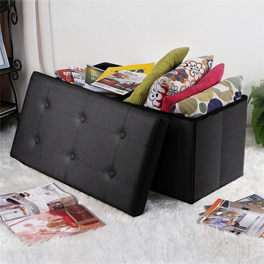 Ktaxon Cuboid Faux Footstool Leather Ottoman Bench Storage Box Seat Organizer