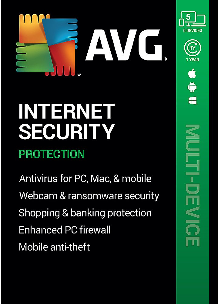 AVG Internet Security (5 Devices) (1-Year Subscription) Android Mac Windows