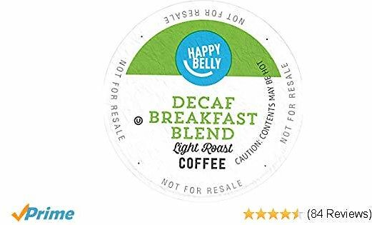 Amazon Brand - 100 Ct. Happy Belly Decaf Light Roast Coffee Pods, Breakfast Blend, Compatible with Keurig 2.0 K-Cup Brewers