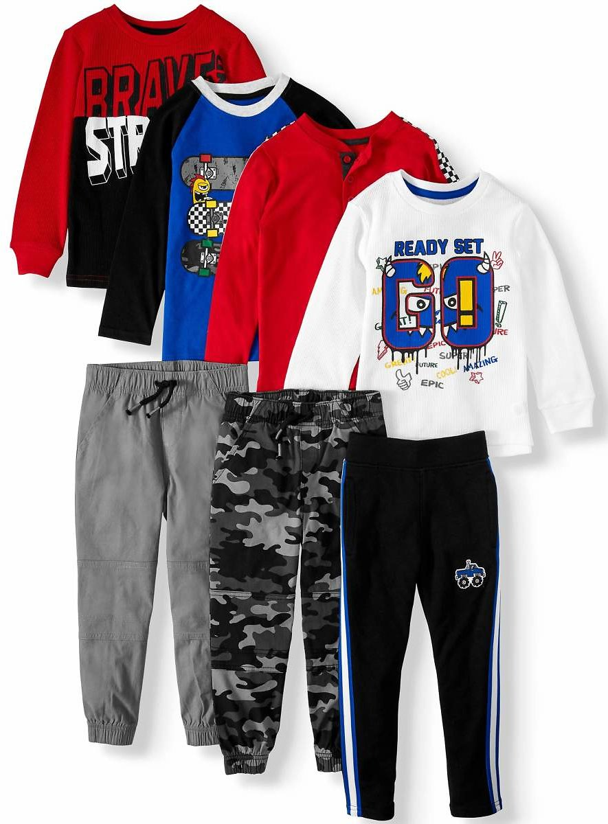 365 Kids from Garanimals Boys 4-10 Kid-Pack with Long Sleeve T-Shirts, Sweatpants, & Jogger Pants, 7-Piece Outfit Set