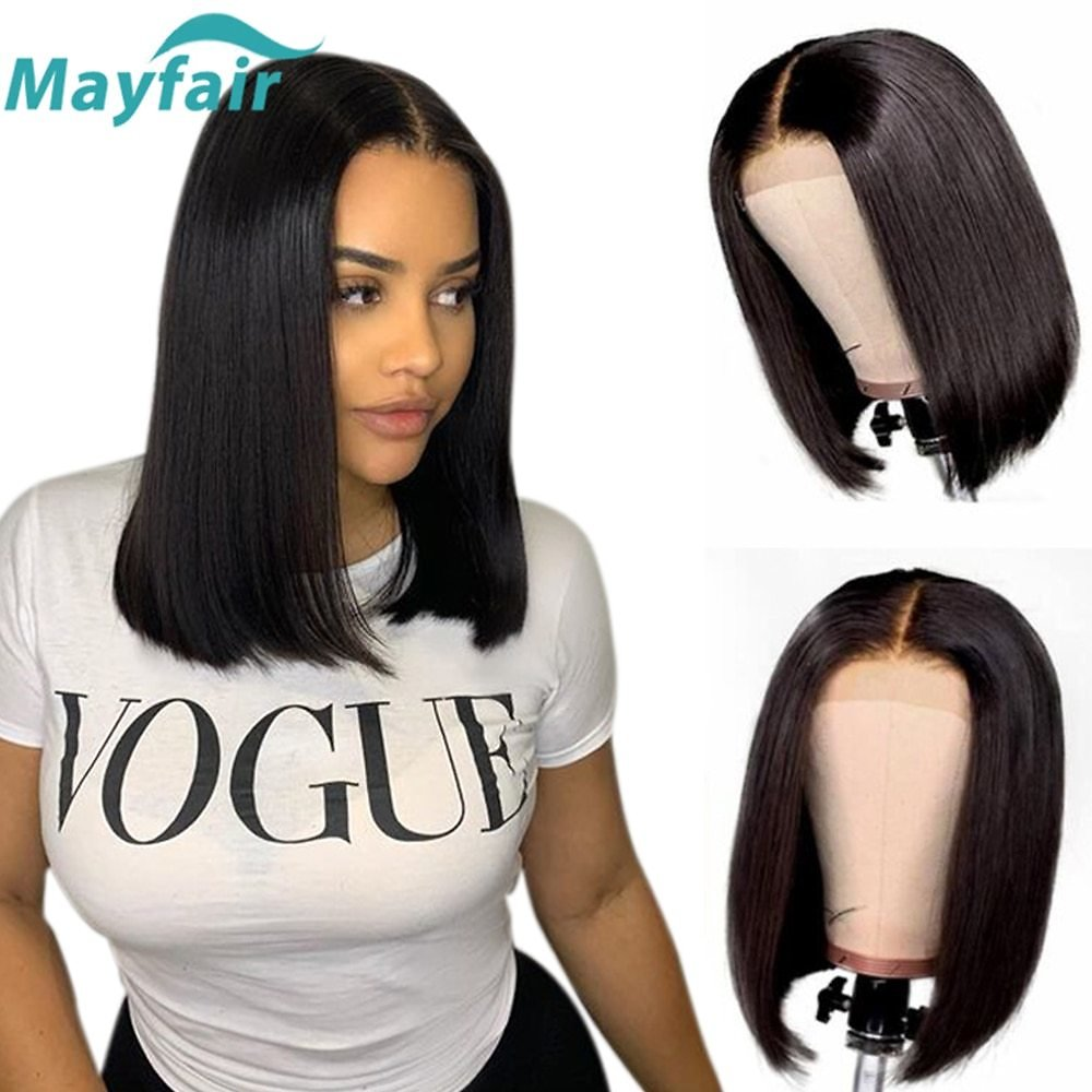 Lace Front Human Hair Wigs Short Bob Lace Front Wigs For Black Women 4x4 Lace Closure Wigs Brazilian Straight Lace Front Wigs