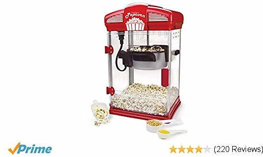 West Bend 82515 Hot Oil Movie Theater Style Popcorn Popper Machine with Nonstick Kettle Includes Measuring Cup Oil and Popcorn Scoop, 4-Quarts, Red