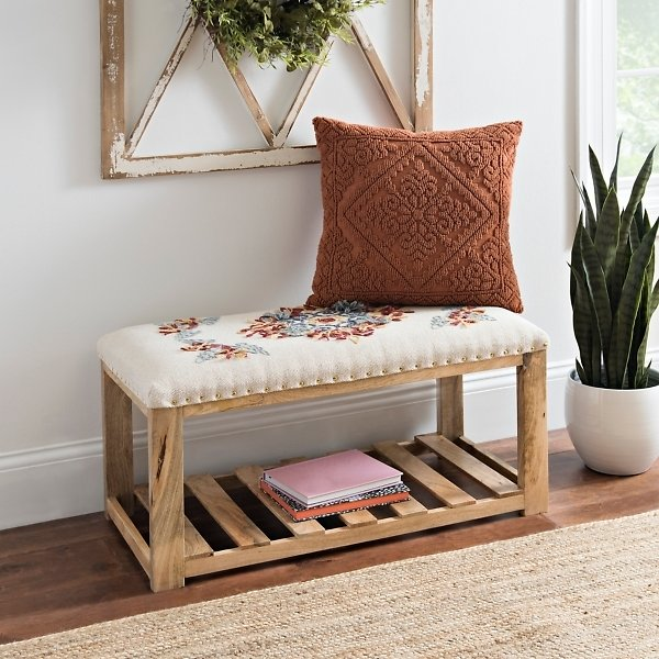 Floral Embroidered Bench with Wood Base