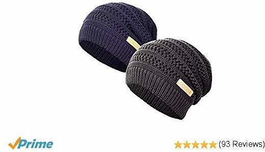 CXGCLUB Beanie Hat for Men and Women Winter Warm Ultrafine Knit Fleece Hat Ski Slouchy Skull Cap (Dark Blue + Dark Grey)