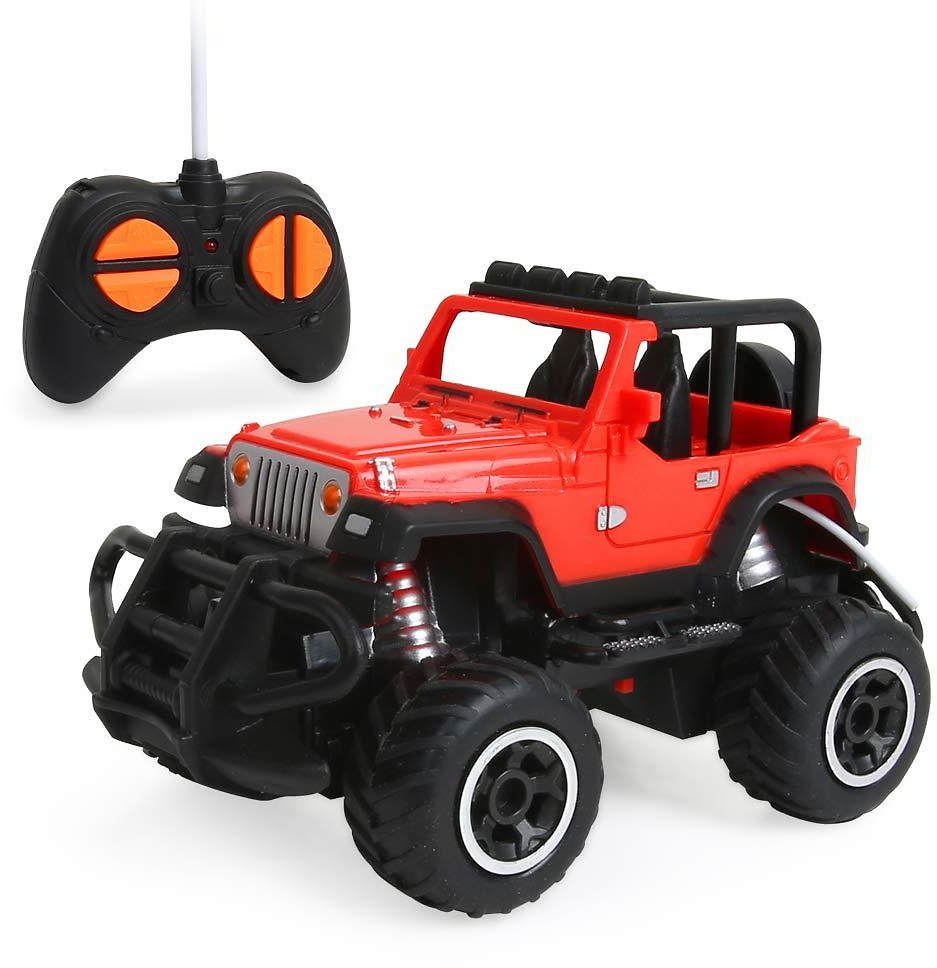 Beebeerun Remote Control Cars, 1:43 Scale Mini Jeep Vehicle for Kids, RC Sports Racing Hobby for Boys Girls (Red)