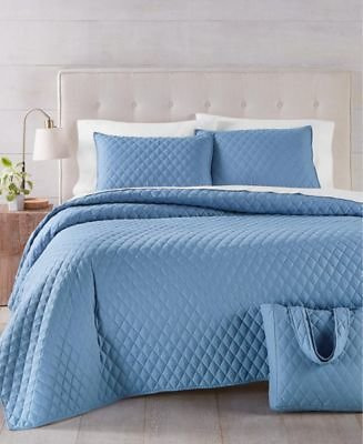 Martha Stewart Collection Solid 4-Pc. Full/Queen Quilt and Tote Bag Set, Created for Macy's & Reviews - Quilts & Bedspreads - Bed & Bath
