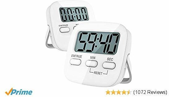 Kitchen Timer, 2 Pack Digital Kitchen Timer Magnetic Countdown Stopwatch Timer With Loud Alarm, Big Digit, Back Stand, Hanging Hole for Cooking, Shower, Bathroom, Kids, Teacher - AAA Battery Included