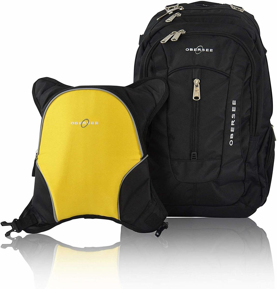 Obersee Bern Diaper Bag Backpack with Detachable Cooler, Black/Yellow