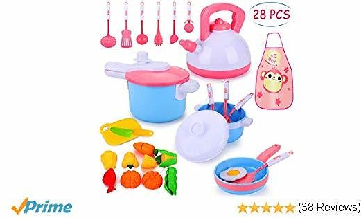 Biulotter 28 Pcs Kitchen Cooking Set, Kitchen Cooking Set Cookware Utensils Kitchen Food Playset Accessories for Toddlers Girls Boy Tea Playset Toy for Kids Pretend Play Food Set