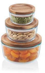 6Pc Pyrex Simply Store 6-Piece Storage Set with Wood Lids 1135102