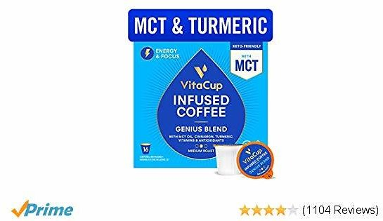 VitaCup Genius Blend Coffee Pods 16ct Energy & Focus | MCT, Turmeric & Cinnamon | Keto | Paleo | Whole 30 | Vitamins B1, B5, B6, B9, B12, D3 | Compatible with K-Cup Brewers Including Keurig 2.0