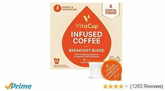 VitaCup Breakfast Blend Energy Blend Coffee Pods 64ct   Keto   Paleo   Whole30   Vitamins B1, B5, B6, B9, B12, D3   Compatible with K-Cup Brewers Including Keurig 2.0   Light Roast