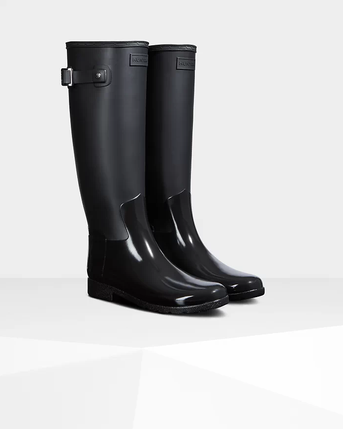 Women's Refined Slim Fit Gloss Duo Tall Rain Boots: Black