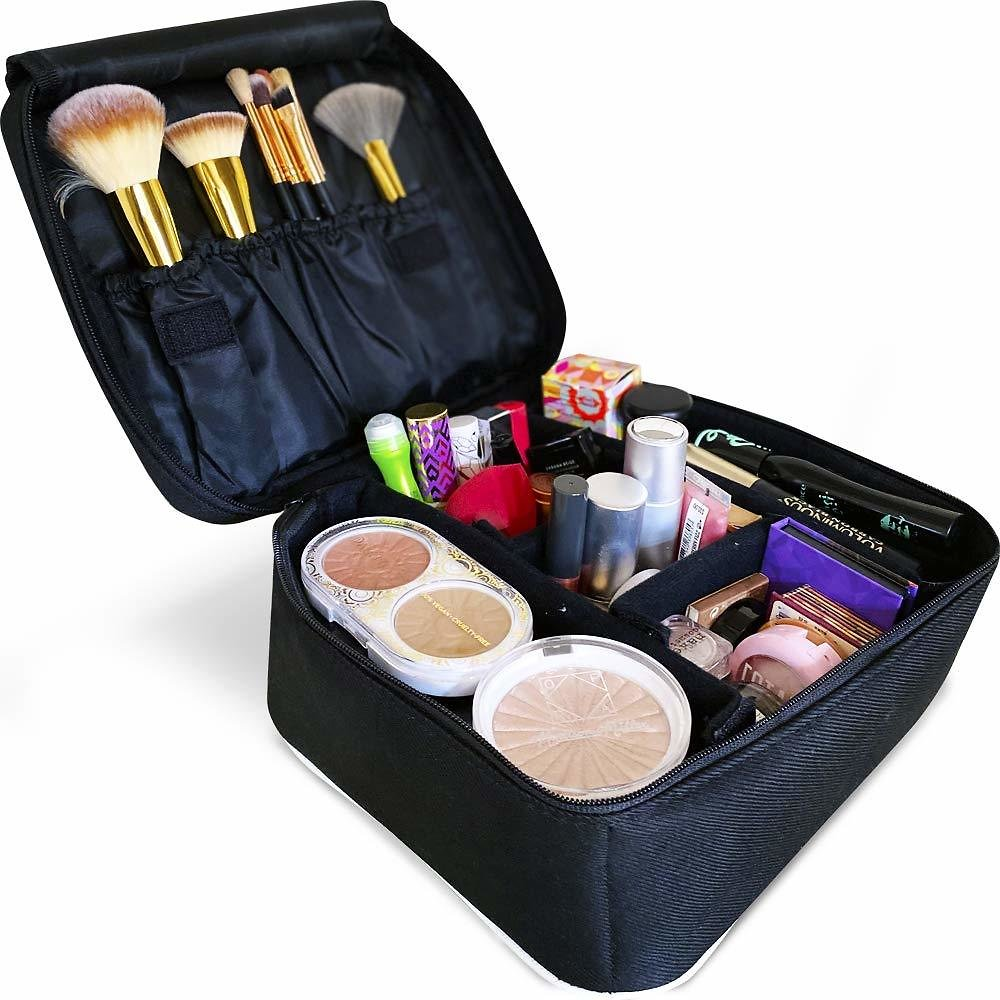 50% Off Travel Makeup Organizer With Adjustable Dividers for Makeup Brushes, Jewelry, Toiletries