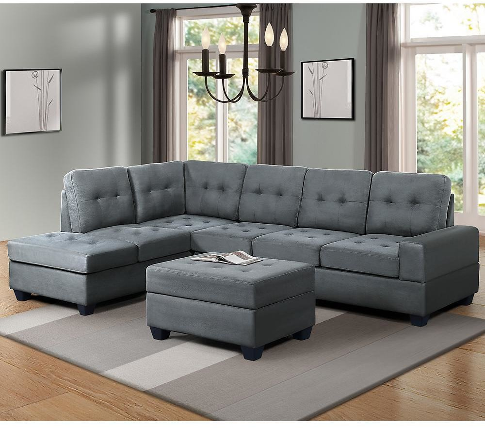 3-Pc Sectional Sofa w/ Storage Ottoman & Cup Holder