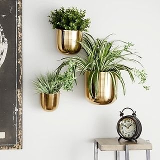 Studio 350 Contemporary Style Large Round Indoor/Outdoor Metallic Gold Metal Wall Planters, Set of 3: 9