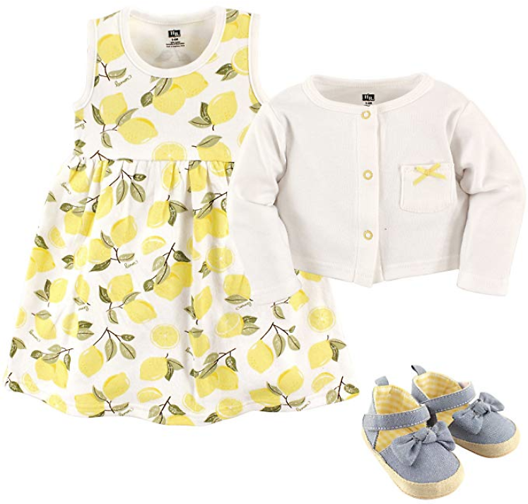 Hudson Baby Girl Dress, Cardigan, and Shoes 0-18-months