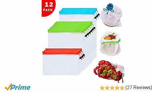12PCs Reusable Mesh Produce Bags with Rope
