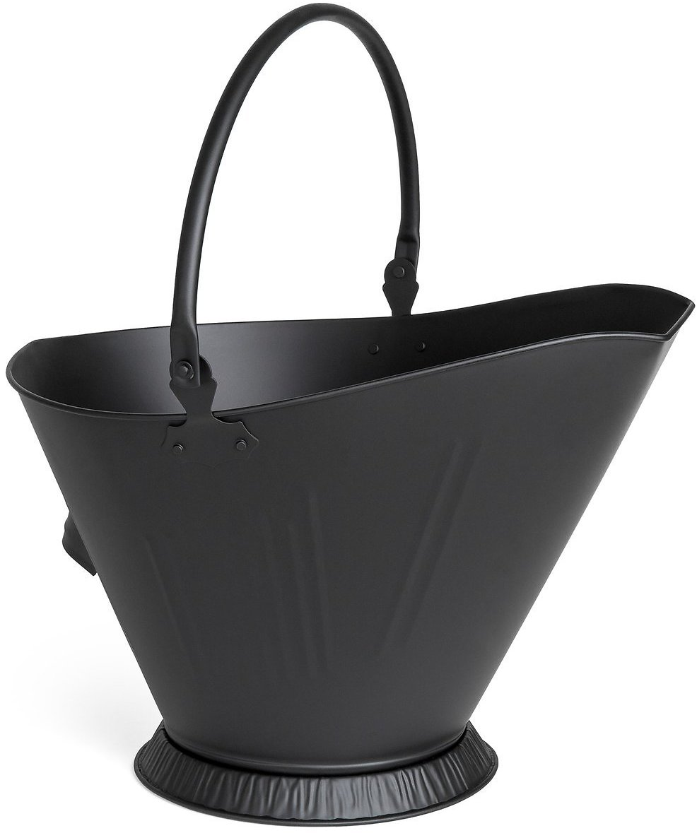 Metal Fireplace Ash Bucket Storage Container w/ Handles