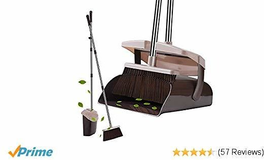 Broom and Dustpan Set with Lid Super Long Handle Lobby Broom with Dust Pan Teeth for Self-Cleaning Home Kitchen