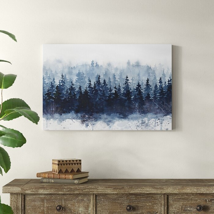 Indigo Forest Print in Wrapped Canvas