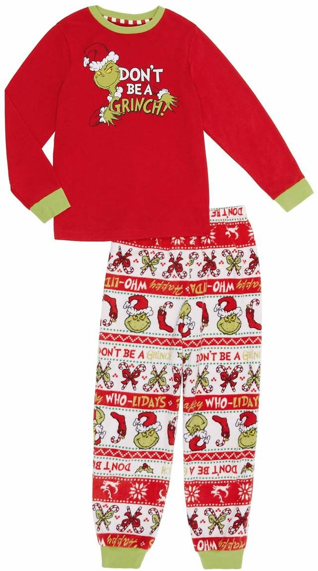 Dr. Seuess The Grinch Unisex Kids 2-Piece Sleep Set - Medium