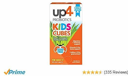 Up4 Kids Cubes Probiotic Supplement | Digestive + Immune Support | Vitamin D for Bone Support* | 1 Billion CFUs | Sugar Free, Preservative Free, No Artificial Flavors | 40 Soft + Yummy Vanilla Melts