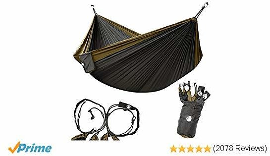 Legit Camping Double Hammock - Lightweight Parachute Portable Hammocks for Hiking, Travel, Backpacking, Beach, Yard Gear Includes Nylon Straps & Steel Carabiners (Copper/Onyx)
