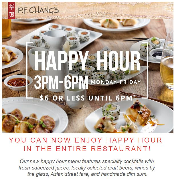PF Changs Happy Hour 3-6pm $6 or Less Apps!